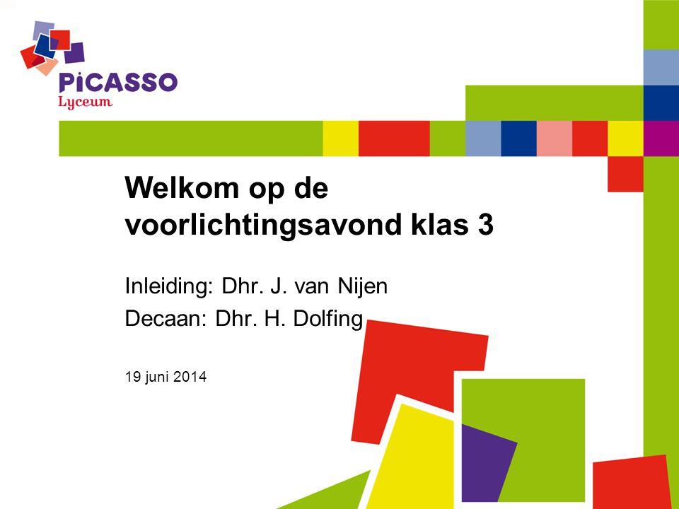 Welkom op de voorlichtingsavond klas 3 Inleiding: Dhr. J. van Nijen Decaan: Dhr. H. Dolfing 19 juni 2014