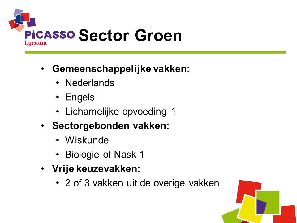 Sector Groen •Gemeenschappelijke vakken: •Nederlands •Engels •Lichamelijke opvoeding 1 •Sectorgebonden vakken: •Wiskunde •Biologie of Nask 1 •Vrije keuzevakken: •2 of 3 vakken uit de overige vakken