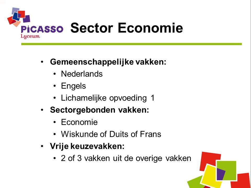 Sector Economie •Gemeenschappelijke vakken: •Nederlands •Engels •Lichamelijke opvoeding 1 •Sectorgebonden vakken: •Economie •Wiskunde of Duits of Frans •Vrije keuzevakken: •2 of 3 vakken uit de overige vakken