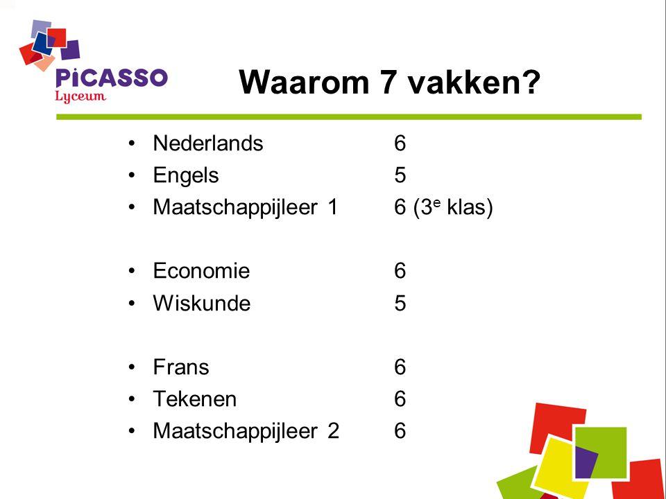Waarom 7 vakken? •Nederlands6 •Engels5 •Maatschappijleer 16 (3 e klas) •Economie6 •Wiskunde5 •Frans6 •Tekenen6 •Maatschappijleer26