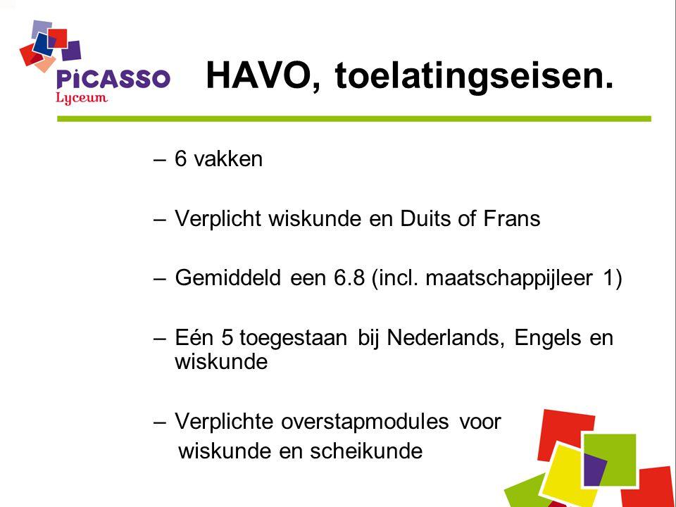 HAVO, toelatingseisen. –6 vakken –Verplicht wiskunde en Duits of Frans –Gemiddeld een 6.8 (incl. maatschappijleer 1) –Eén 5 toegestaan bij Nederlands,