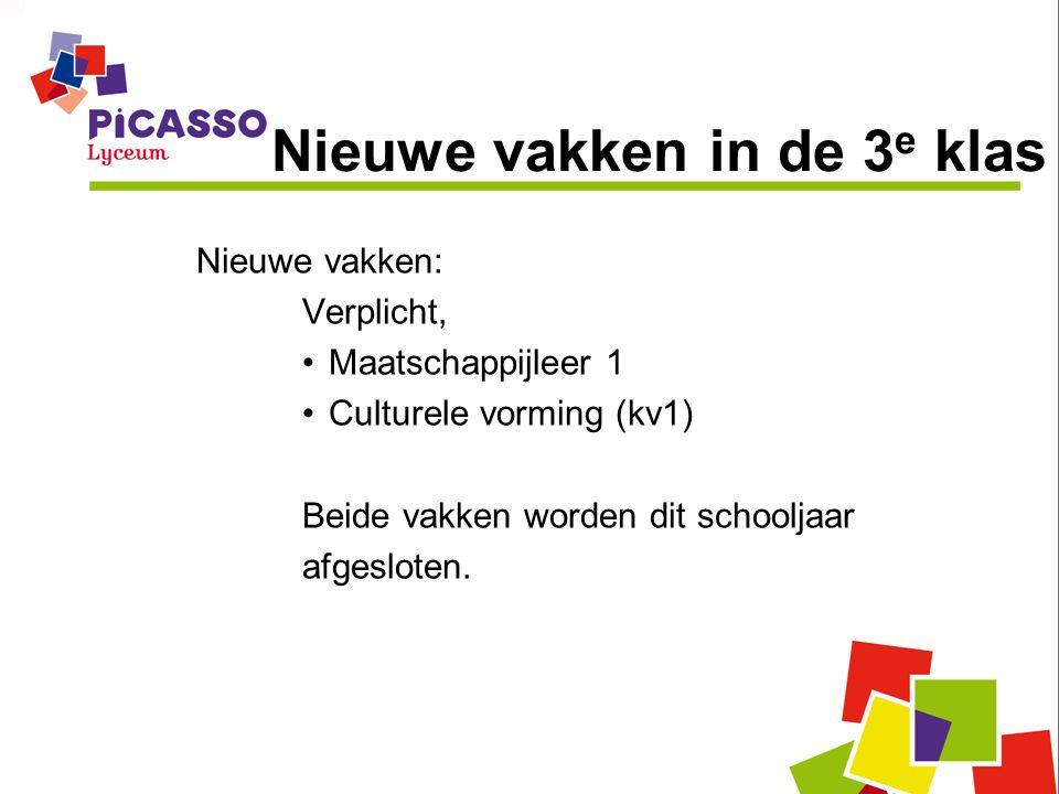 Nieuwe vakken in de 3 e klas Nieuwe vakken: Verplicht, •Maatschappijleer 1 •Culturele vorming (kv1) Beide vakken worden dit schooljaar afgesloten.