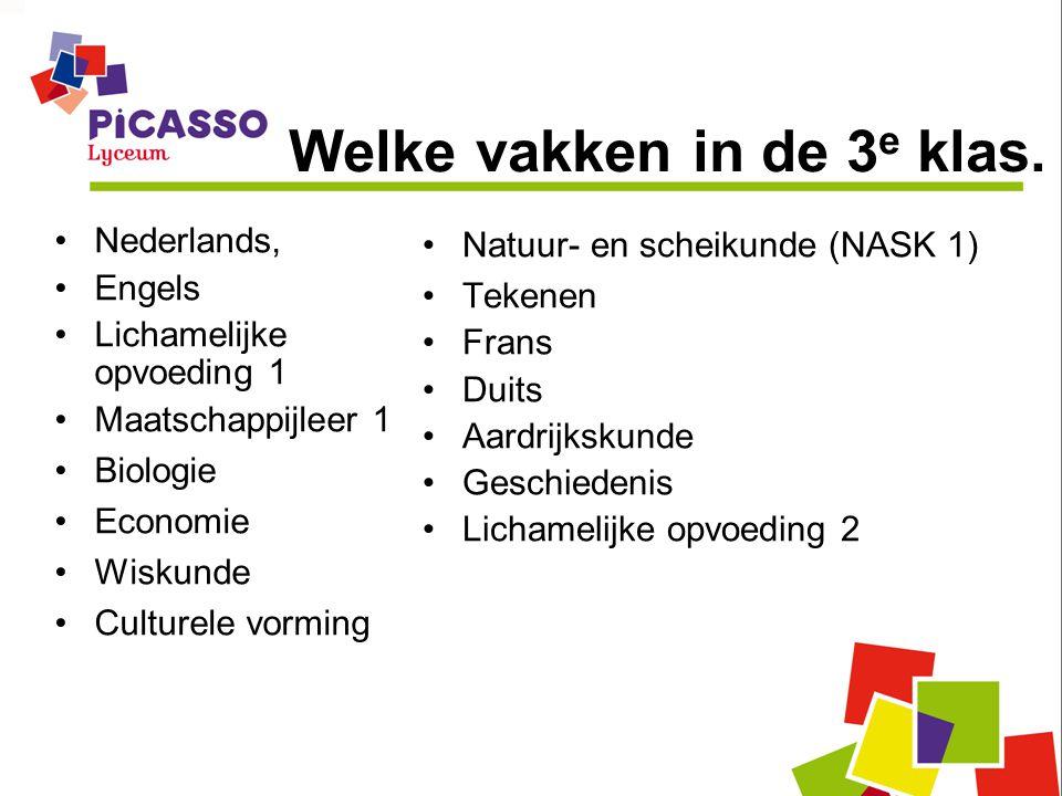 Welke vakken in de 3 e klas. •Nederlands, •Engels •Lichamelijke opvoeding 1 •Maatschappijleer 1 •Biologie •Economie •Wiskunde •Culturele vorming •Natu