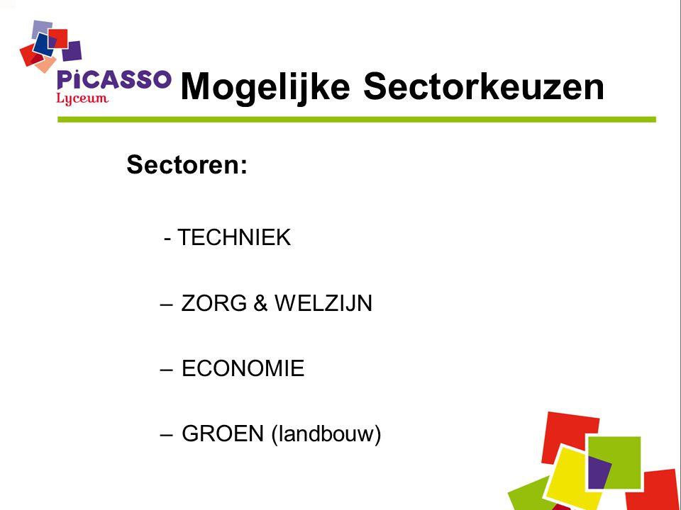Mogelijke Sectorkeuzen Sectoren: - TECHNIEK –ZORG & WELZIJN –ECONOMIE –GROEN (landbouw)