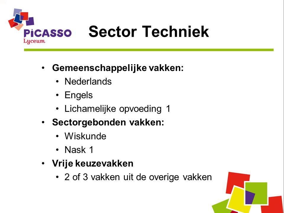 Sector Techniek •Gemeenschappelijke vakken: •Nederlands •Engels •Lichamelijke opvoeding 1 •Sectorgebonden vakken: •Wiskunde •Nask 1 •Vrije keuzevakken •2 of 3 vakken uit de overige vakken