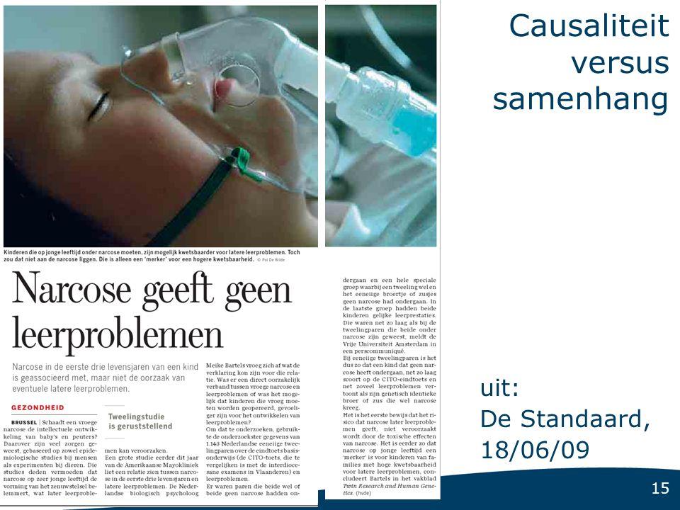 15 Causaliteit versus samenhang uit: De Standaard, 18/06/09