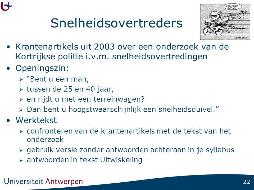 22 Snelheidsovertreders •Krantenartikels uit 2003 over een onderzoek van de Kortrijkse politie i.v.m.