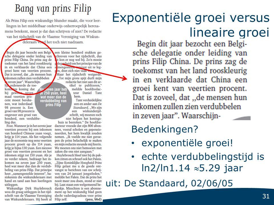 31 Exponentiële groei versus lineaire groei uit: De Standaard, 02/06/05 Bedenkingen? • exponentiële groei! • echte verdubbelingstijd is ln2/ln1.14 5.