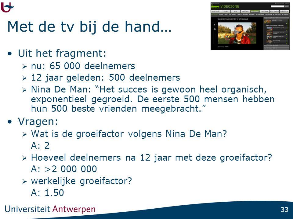 33 Met de tv bij de hand… •Uit het fragment:  nu: 65 000 deelnemers  12 jaar geleden: 500 deelnemers  Nina De Man: Het succes is gewoon heel organisch, exponentieel gegroeid.
