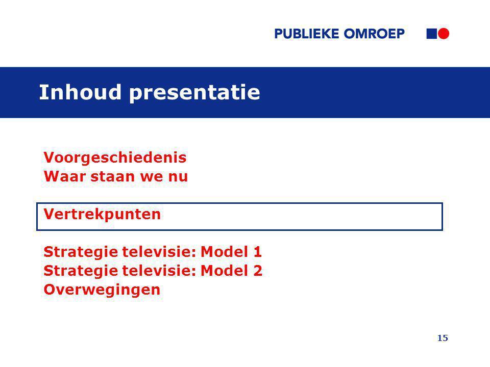 15 Inhoud presentatie Voorgeschiedenis Waar staan we nu Vertrekpunten Strategie televisie: Model 1 Strategie televisie: Model 2 Overwegingen