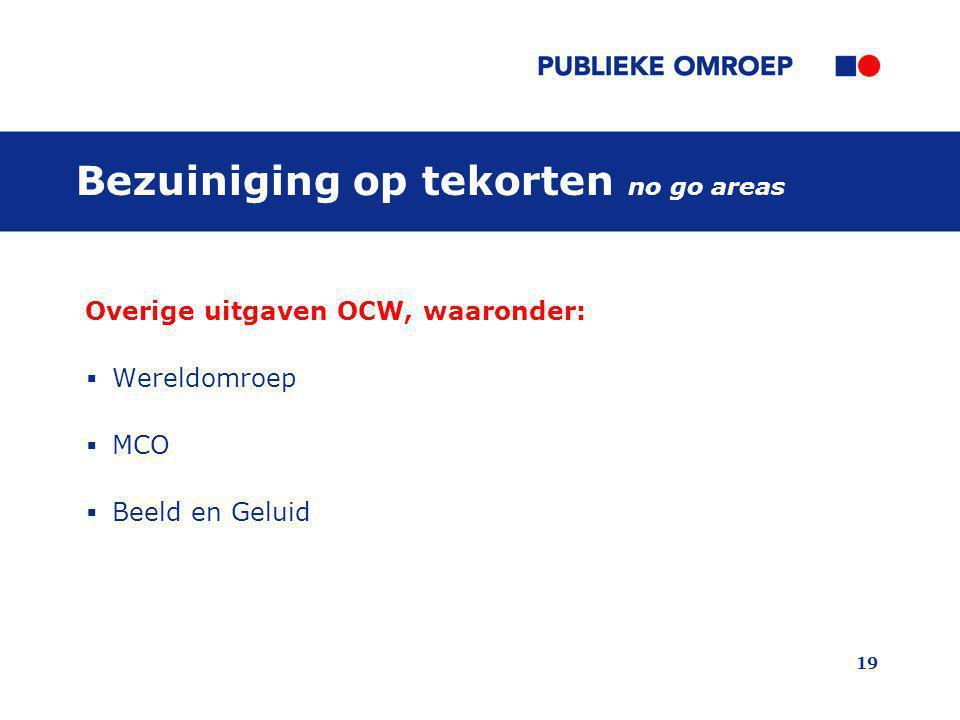 19 Bezuiniging op tekorten no go areas Overige uitgaven OCW, waaronder:  Wereldomroep  MCO  Beeld en Geluid