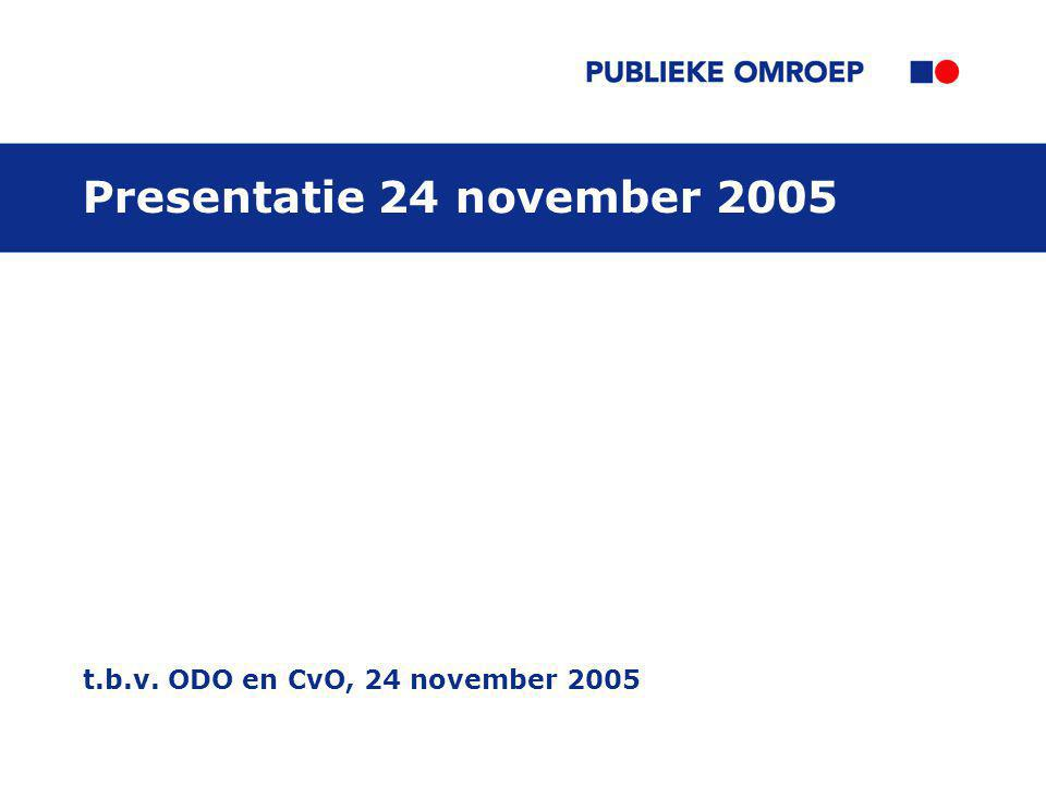 t.b.v. ODO en CvO, 24 november 2005 Presentatie 24 november 2005