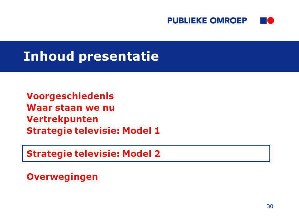 30 Inhoud presentatie Voorgeschiedenis Waar staan we nu Vertrekpunten Strategie televisie: Model 1 Strategie televisie: Model 2 Overwegingen