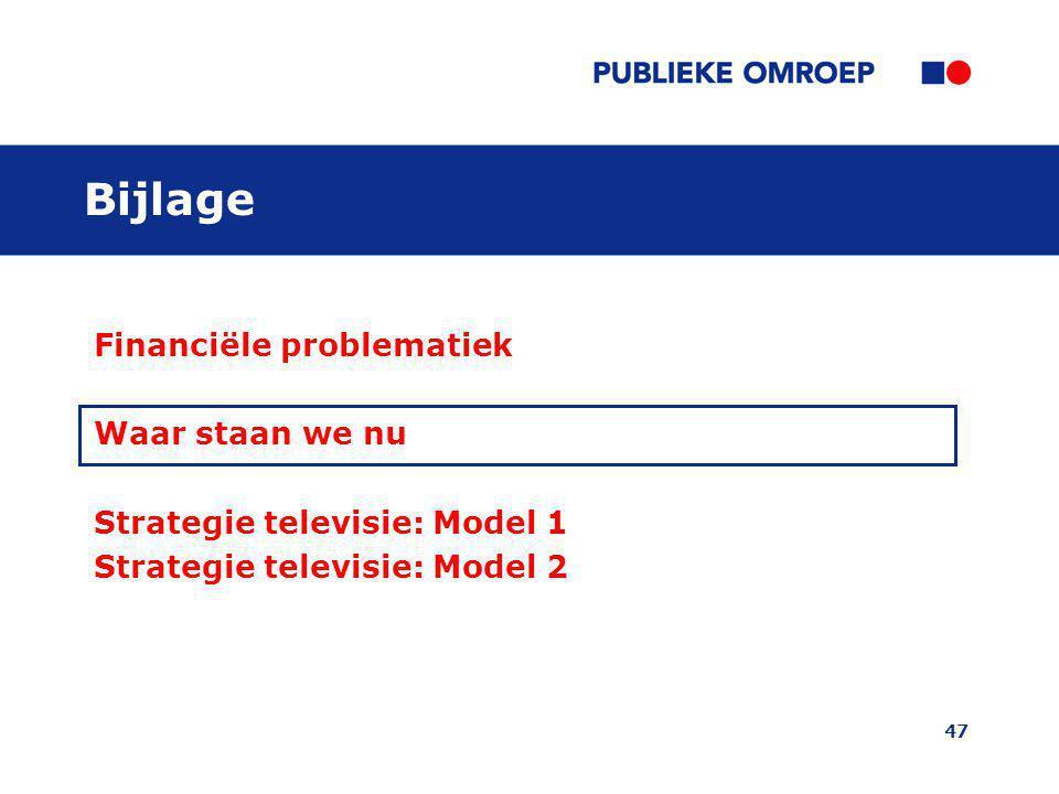 47 Bijlage Financiële problematiek Waar staan we nu Strategie televisie: Model 1 Strategie televisie: Model 2