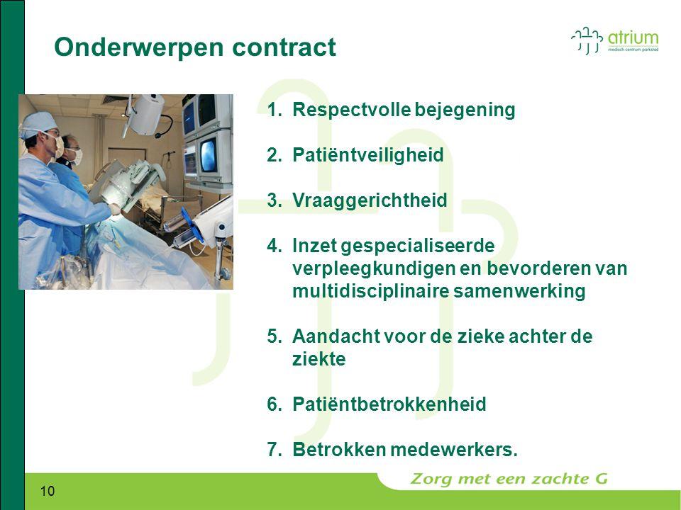 10 Onderwerpen contract 1.Respectvolle bejegening 2.Patiëntveiligheid 3.Vraaggerichtheid 4.Inzet gespecialiseerde verpleegkundigen en bevorderen van m