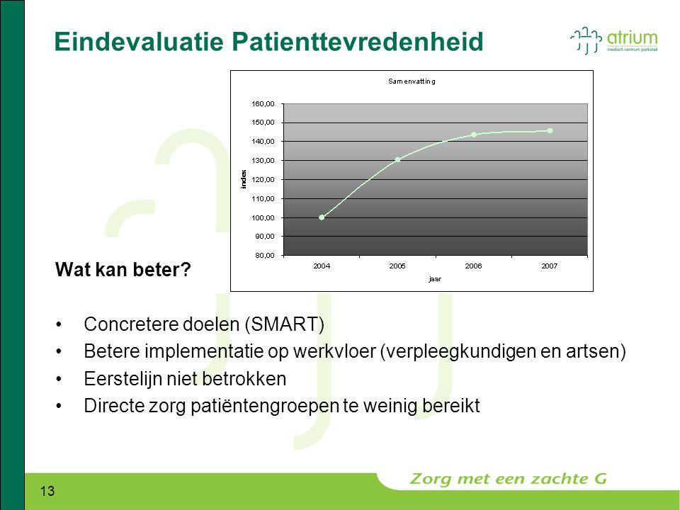 13 Eindevaluatie Patienttevredenheid Wat kan beter? •Concretere doelen (SMART) •Betere implementatie op werkvloer (verpleegkundigen en artsen) •Eerste