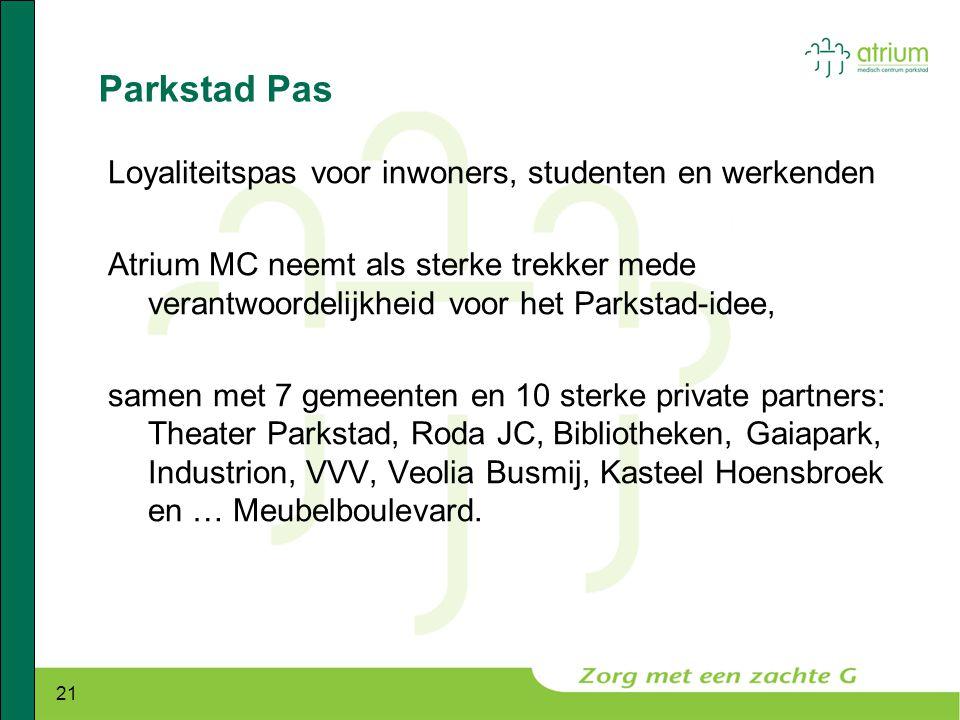21 Parkstad Pas Loyaliteitspas voor inwoners, studenten en werkenden Atrium MC neemt als sterke trekker mede verantwoordelijkheid voor het Parkstad-id