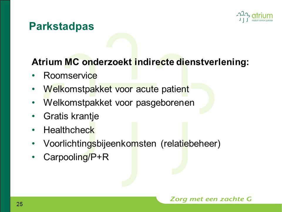 25 Parkstadpas Atrium MC onderzoekt indirecte dienstverlening: •Roomservice •Welkomstpakket voor acute patient •Welkomstpakket voor pasgeborenen •Grat