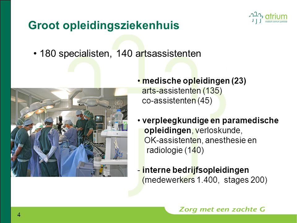 4 Groot opleidingsziekenhuis • 180 specialisten, 140 artsassistenten • medische opleidingen (23) arts-assistenten (135) co-assistenten (45) • verpleeg