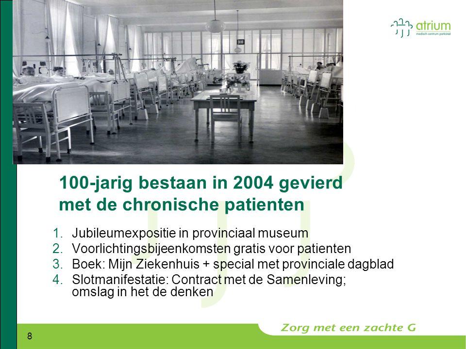 8 100-jarig bestaan in 2004 gevierd met de chronische patienten 1.Jubileumexpositie in provinciaal museum 2.Voorlichtingsbijeenkomsten gratis voor pat