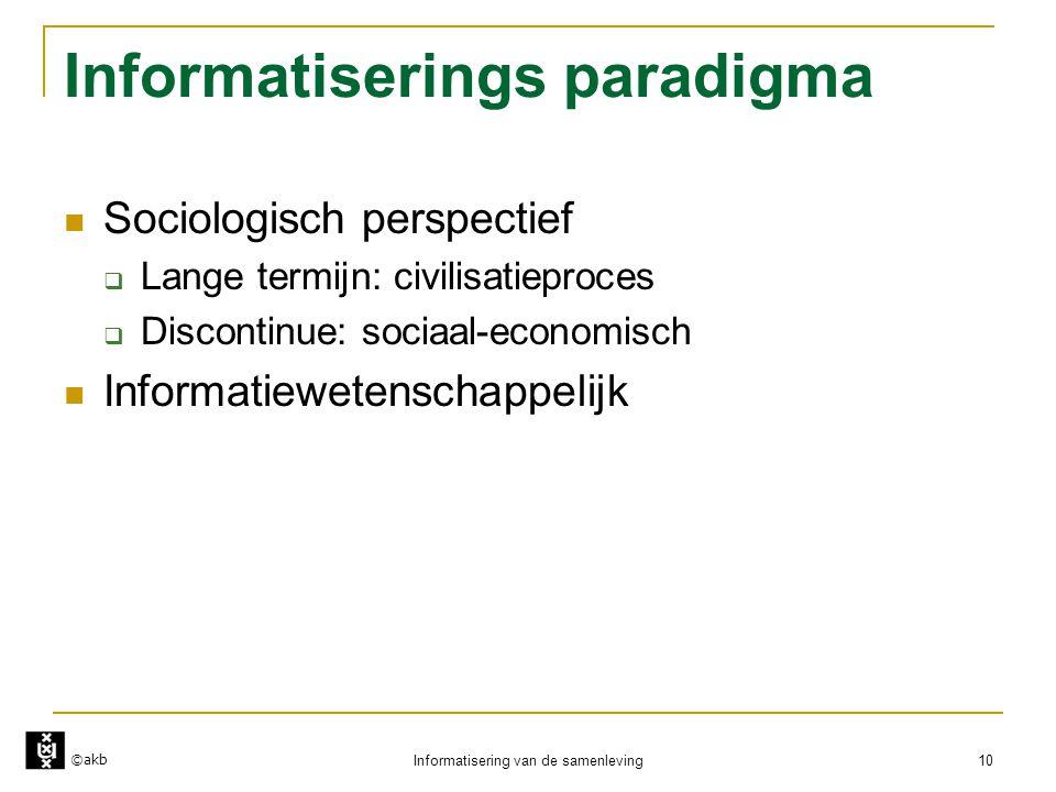 ©akb Informatisering van de samenleving 10 Informatiserings paradigma  Sociologisch perspectief  Lange termijn: civilisatieproces  Discontinue: soc