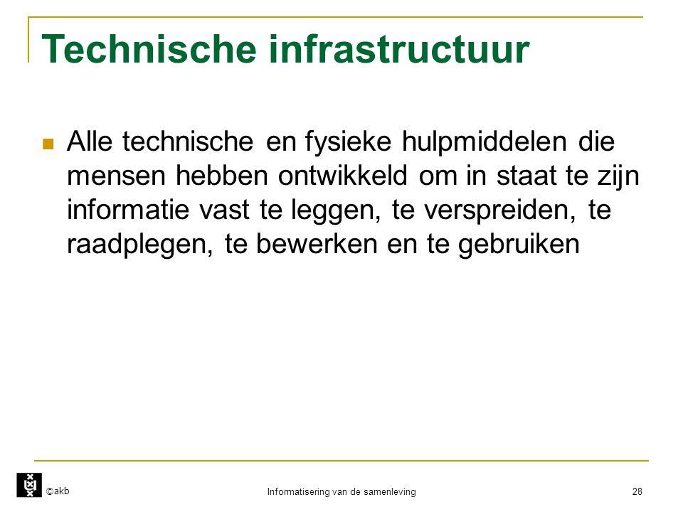 ©akb Informatisering van de samenleving 28 Technische infrastructuur  Alle technische en fysieke hulpmiddelen die mensen hebben ontwikkeld om in staa