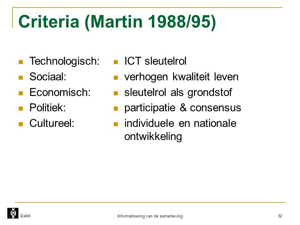 ©akb Informatisering van de samenleving 32 Criteria (Martin 1988/95)  Technologisch:  Sociaal:  Economisch:  Politiek:  Cultureel:  ICT sleutelr