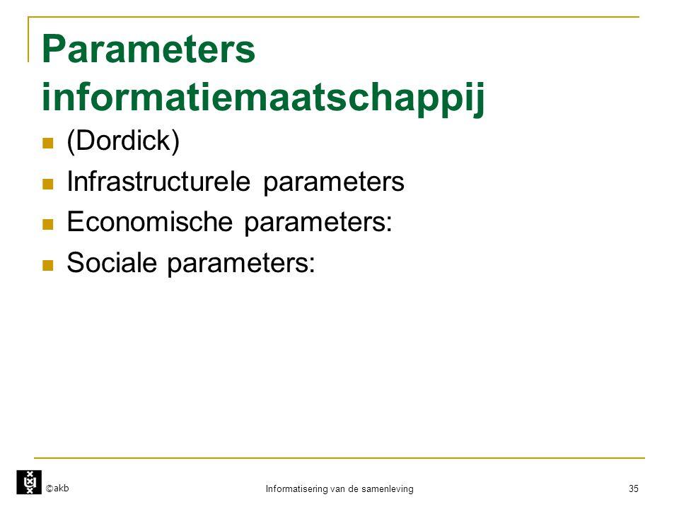 ©akb Informatisering van de samenleving 35 Parameters informatiemaatschappij  (Dordick)  Infrastructurele parameters  Economische parameters:  Soc