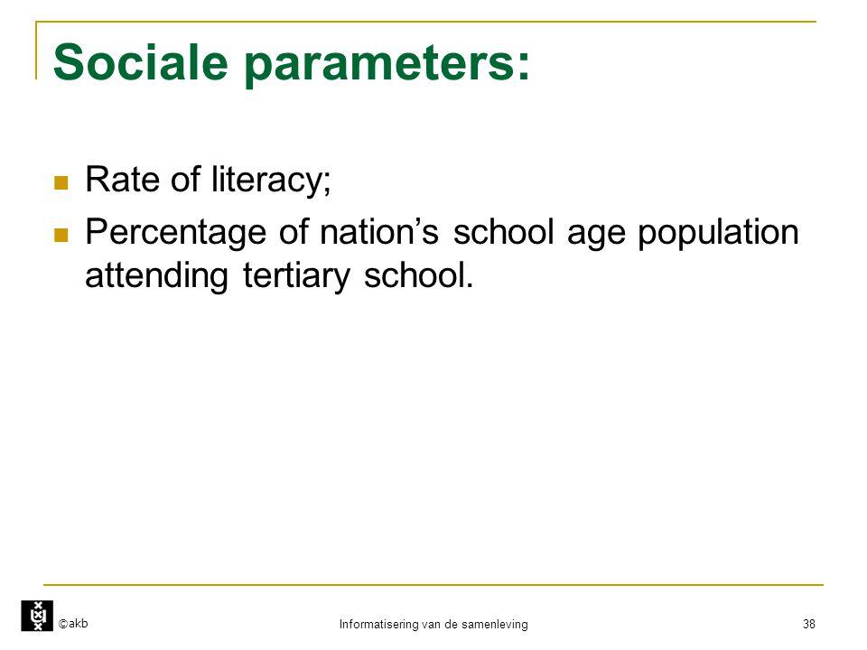 ©akb Informatisering van de samenleving 38 Sociale parameters:  Rate of literacy;  Percentage of nation's school age population attending tertiary s