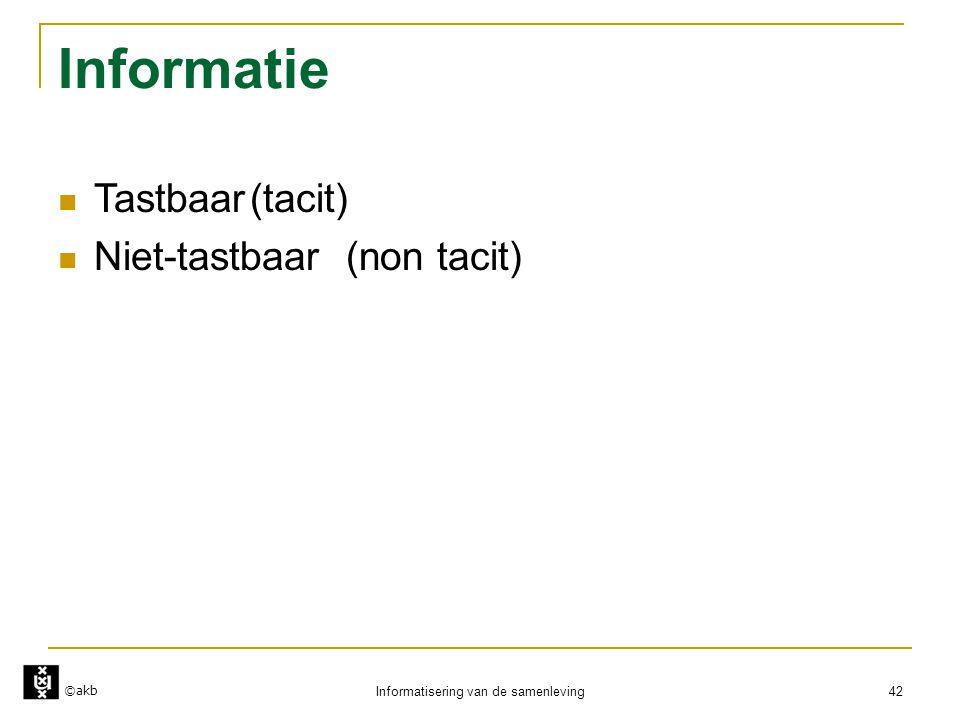 ©akb Informatisering van de samenleving 42 Informatie  Tastbaar(tacit)  Niet-tastbaar(non tacit)