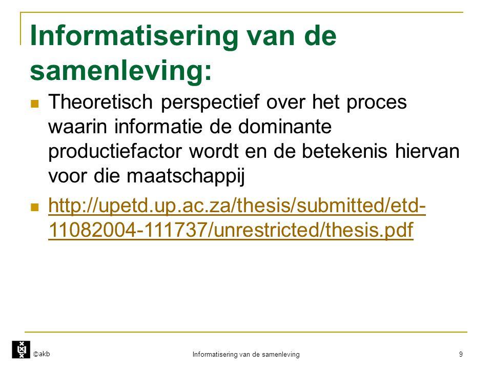 ©akb Informatisering van de samenleving 9 Informatisering van de samenleving:  Theoretisch perspectief over het proces waarin informatie de dominante