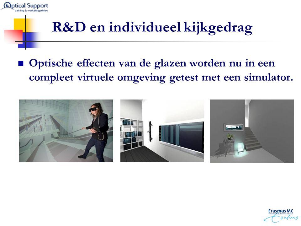 R&D en individueel kijkgedrag  Optische effecten van de glazen worden nu in een compleet virtuele omgeving getest met een simulator.