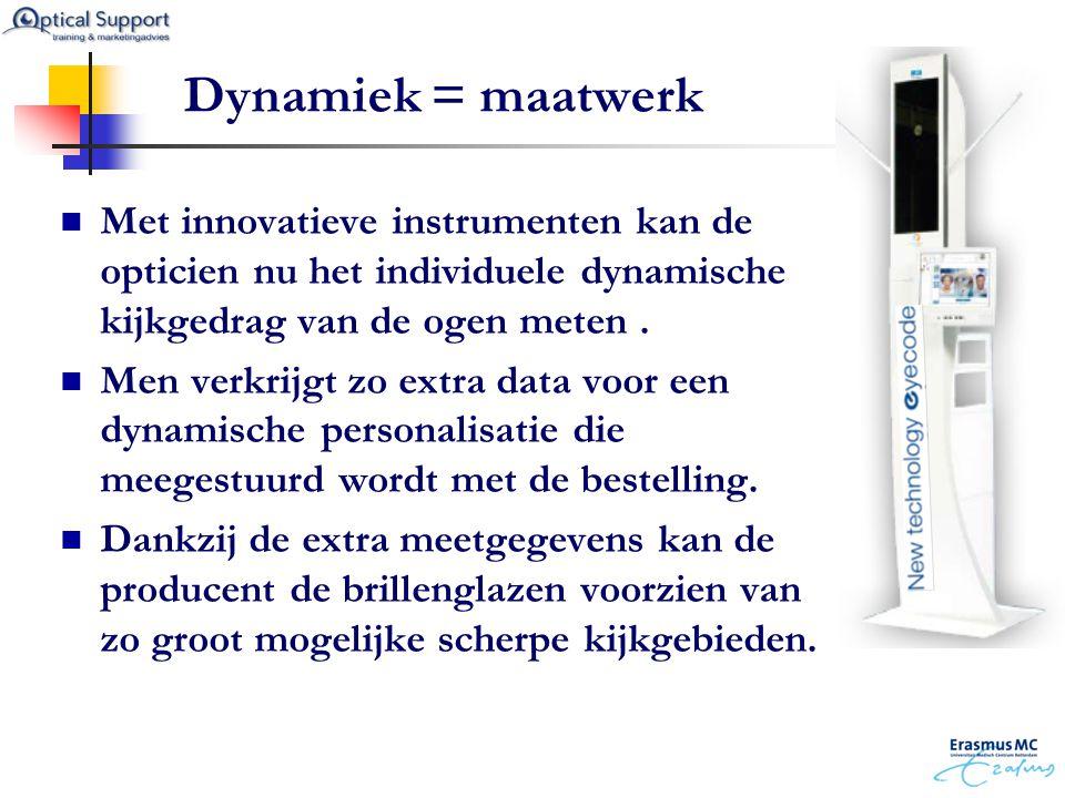 Dynamiek = maatwerk  Met innovatieve instrumenten kan de opticien nu het individuele dynamische kijkgedrag van de ogen meten.  Men verkrijgt zo extr