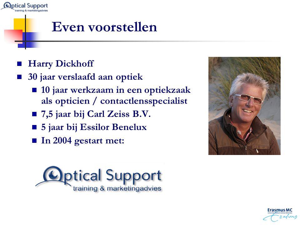  Harry Dickhoff  30 jaar verslaafd aan optiek  10 jaar werkzaam in een optiekzaak als opticien / contactlensspecialist  7,5 jaar bij Carl Zeiss B.