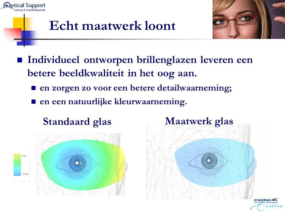 Echt maatwerk loont  Individueel ontworpen brillenglazen leveren een betere beeldkwaliteit in het oog aan.  en zorgen zo voor een betere detailwaarn