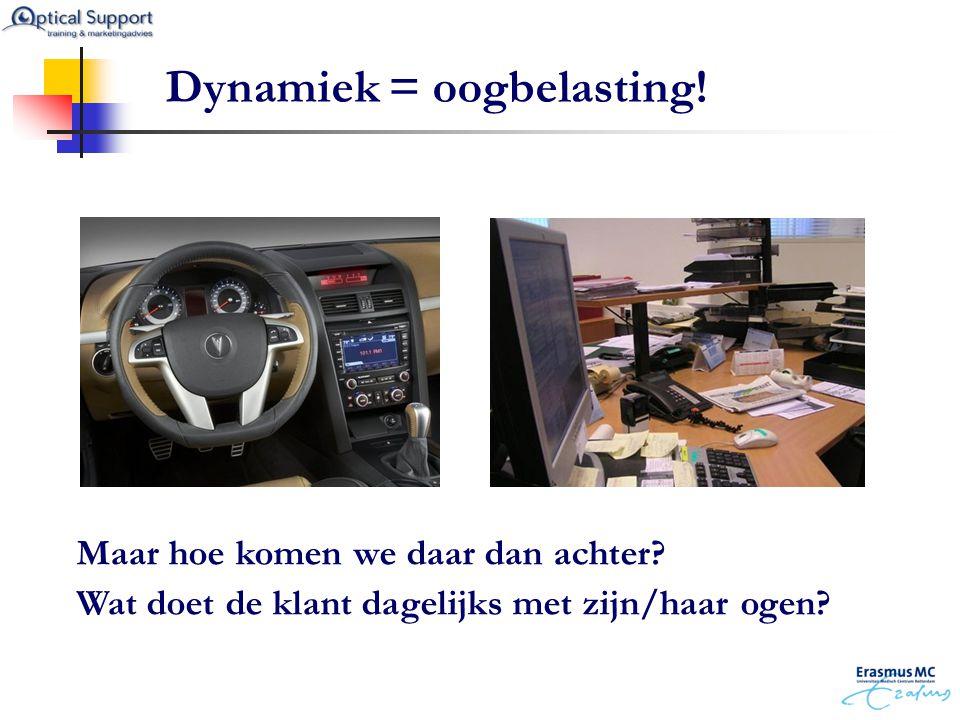 Dynamiek = oogbelasting! Maar hoe komen we daar dan achter? Wat doet de klant dagelijks met zijn/haar ogen?