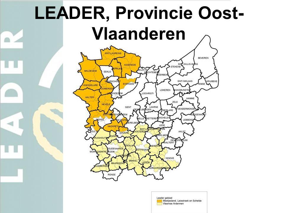 Het LEADER gebied Meetjesland, Leie & Schelde • 131.316 inwoners • 648 km² • BD = 202 inw/km²