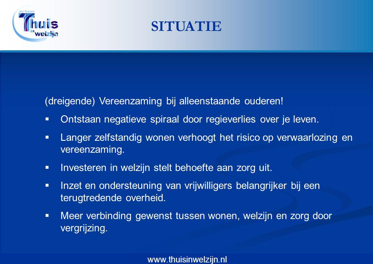 www.thuisinwelzijn.nl (dreigende) Vereenzaming bij alleenstaande ouderen!  Ontstaan negatieve spiraal door regieverlies over je leven.  Langer zelfs