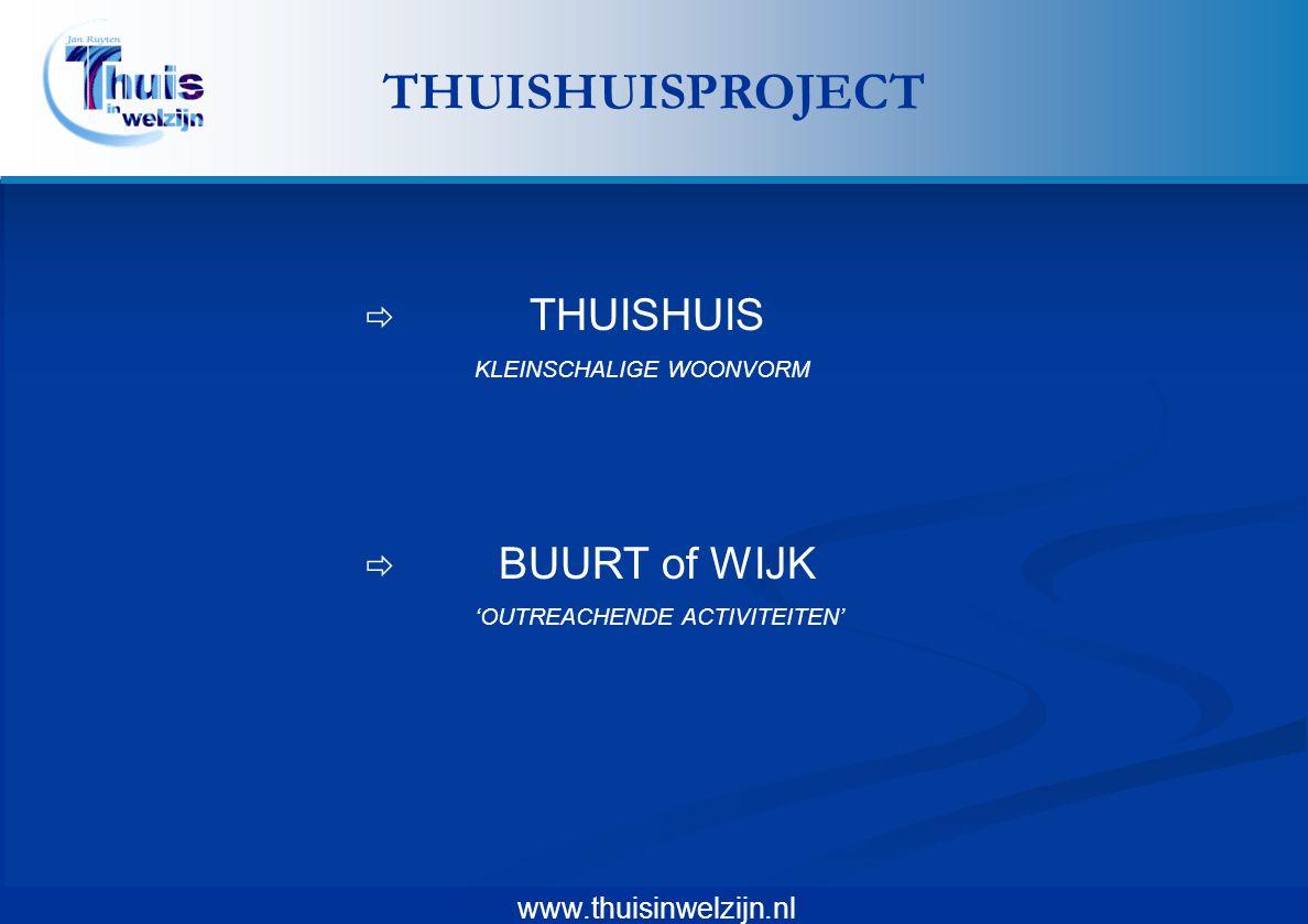 www.thuisinwelzijn.nl  THUISHUIS KLEINSCHALIGE WOONVORM  BUURT of WIJK 'OUTREACHENDE ACTIVITEITEN' THUISHUISPROJECT