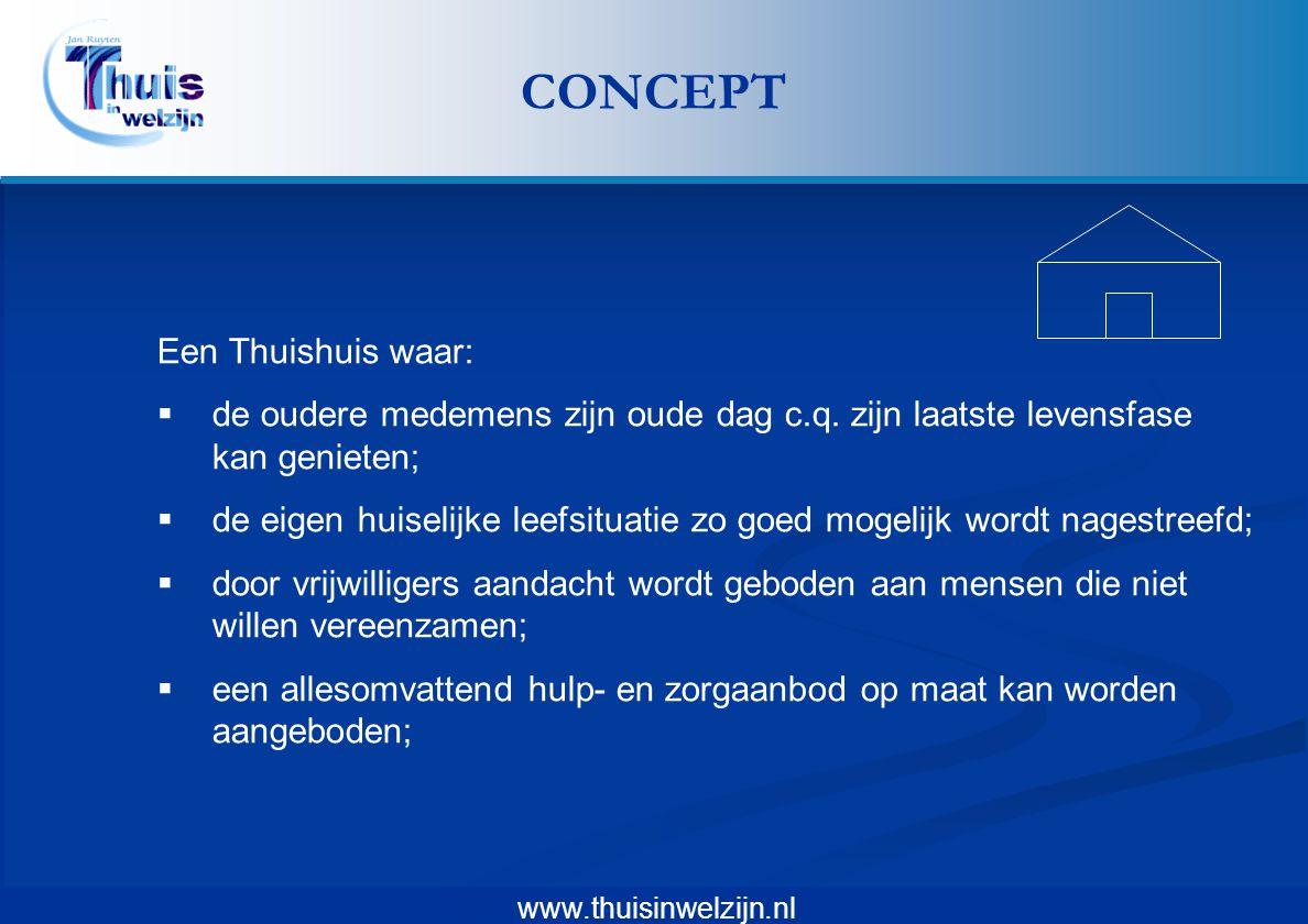 www.thuisinwelzijn.nl Een Thuishuis waar:  de oudere medemens zijn oude dag c.q. zijn laatste levensfase kan genieten;  de eigen huiselijke leefsitu