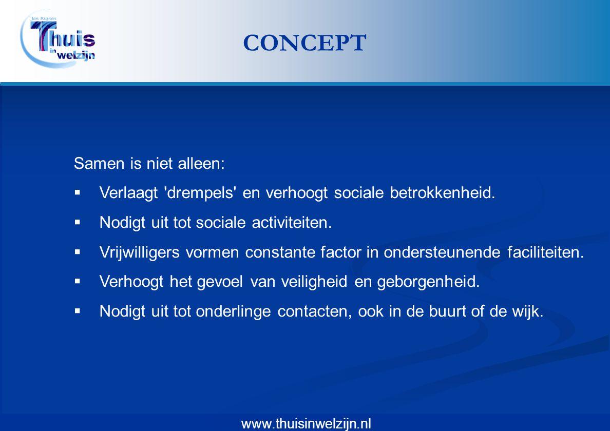 www.thuisinwelzijn.nl Samen is niet alleen:  Verlaagt 'drempels' en verhoogt sociale betrokkenheid.  Nodigt uit tot sociale activiteiten.  Vrijwill