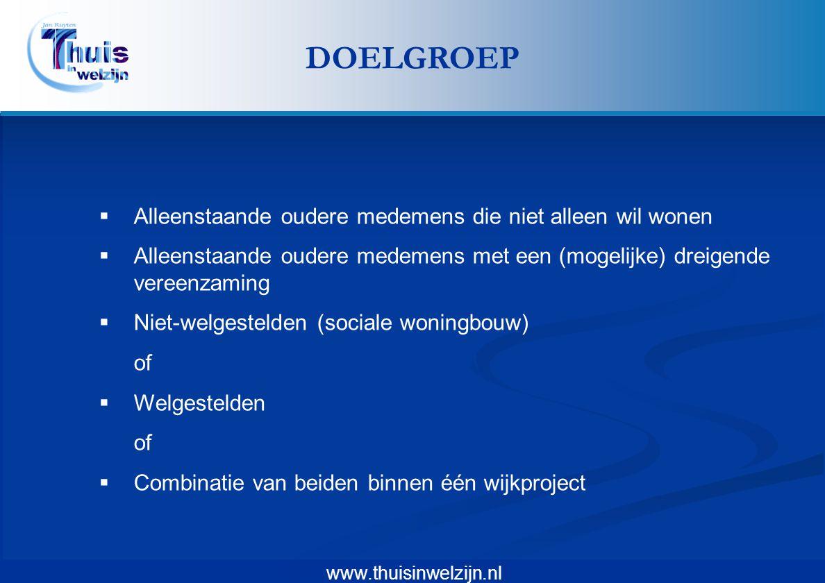 www.thuisinwelzijn.nl  Alleenstaande oudere medemens die niet alleen wil wonen  Alleenstaande oudere medemens met een (mogelijke) dreigende vereenza