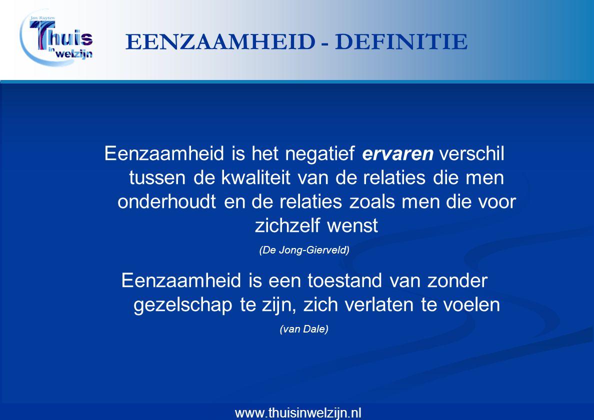 www.thuisinwelzijn.nl Eenzaamheid is het negatief ervaren verschil tussen de kwaliteit van de relaties die men onderhoudt en de relaties zoals men die