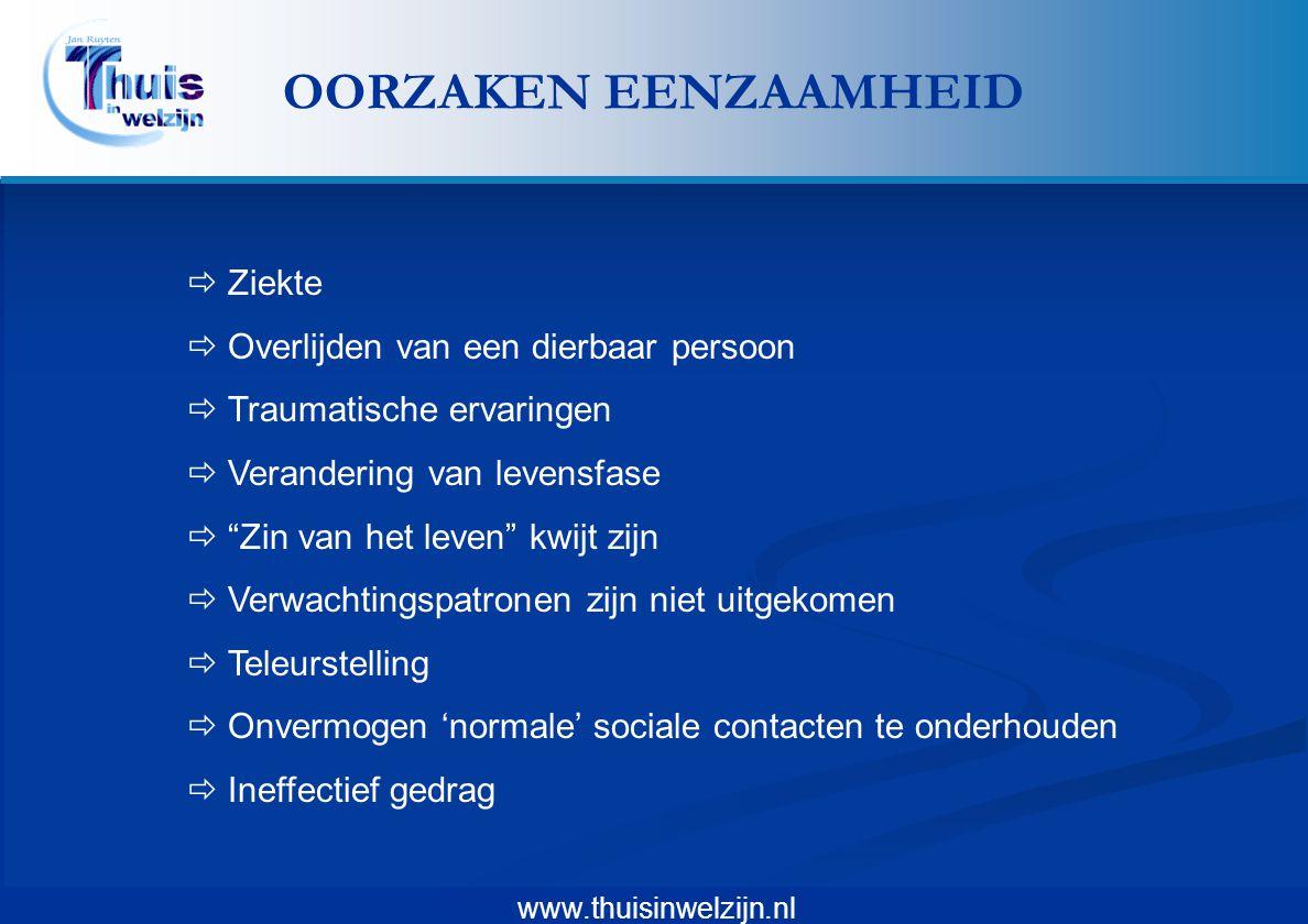 """www.thuisinwelzijn.nl  Ziekte  Overlijden van een dierbaar persoon  Traumatische ervaringen  Verandering van levensfase  """"Zin van het leven"""" kwij"""