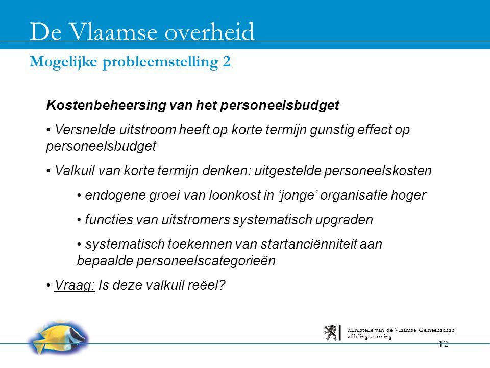 12 Mogelijke probleemstelling 2 De Vlaamse overheid afdeling vorming Ministerie van de Vlaamse Gemeenschap Kostenbeheersing van het personeelsbudget •