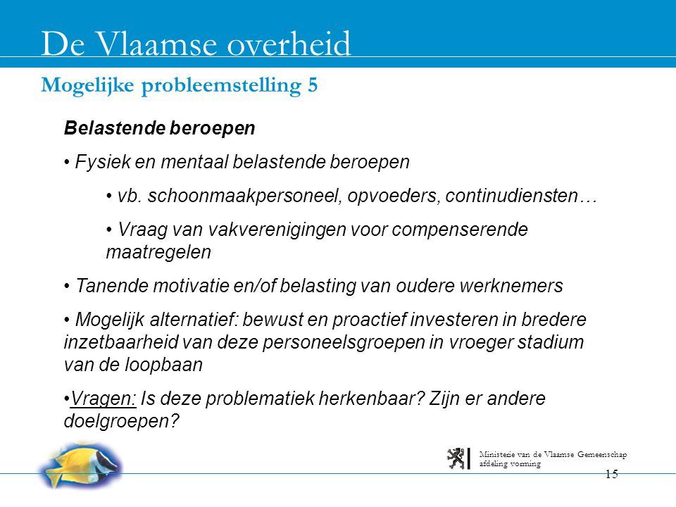 15 Mogelijke probleemstelling 5 De Vlaamse overheid afdeling vorming Ministerie van de Vlaamse Gemeenschap Belastende beroepen • Fysiek en mentaal bel