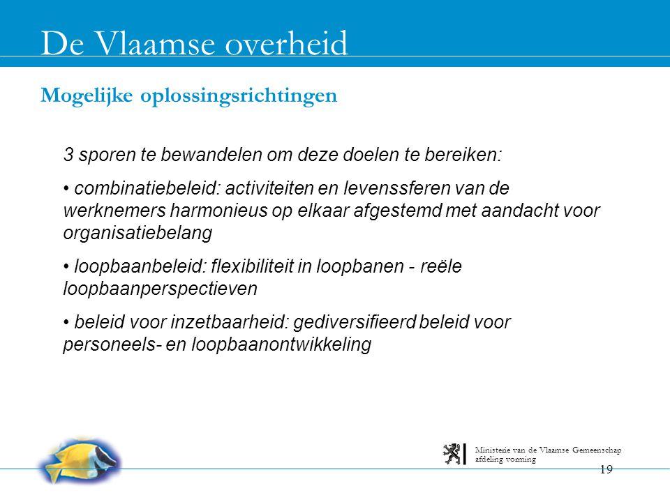 19 Mogelijke oplossingsrichtingen De Vlaamse overheid afdeling vorming Ministerie van de Vlaamse Gemeenschap 3 sporen te bewandelen om deze doelen te