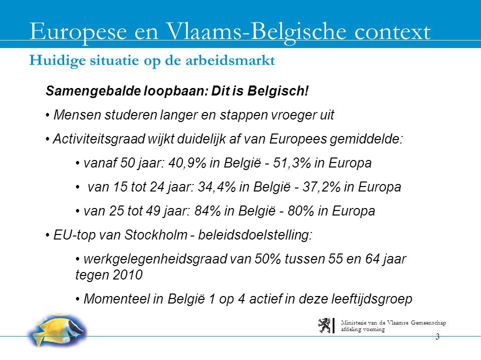 3 Huidige situatie op de arbeidsmarkt Europese en Vlaams-Belgische context afdeling vorming Ministerie van de Vlaamse Gemeenschap Samengebalde loopbaa