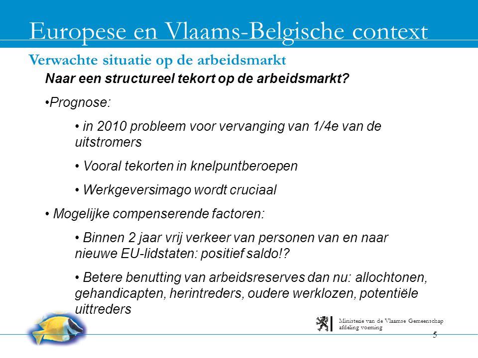 5 Verwachte situatie op de arbeidsmarkt Europese en Vlaams-Belgische context afdeling vorming Ministerie van de Vlaamse Gemeenschap Naar een structure