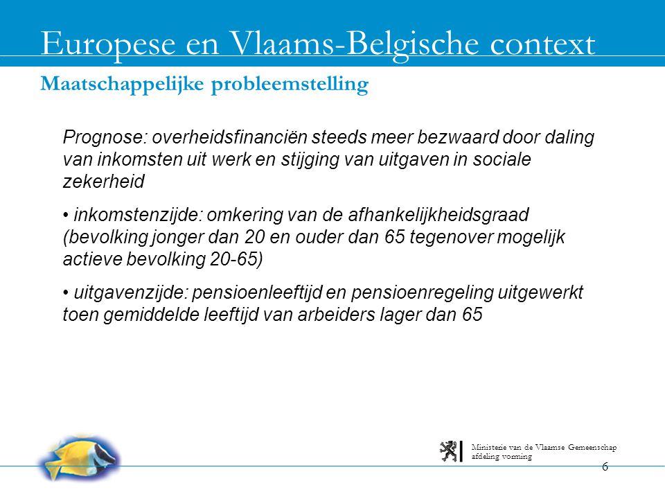 7 Personeelsontwikkelingen bij MVG en WI's De Vlaamse overheid afdeling vorming Ministerie van de Vlaamse Gemeenschap De leeftijdspiramide • MVG heeft een omgekeerde leeftijdspiramide (31/12/2003): • 50,5% is minstens 45 jaar (50% voor België verwacht tegen 2010) • 35% is minstens 50 jaar (koplopers: LIN - 40,66% / OND - 32,59% / EWBL - 31,46%) • Verwachting op basis van personeelseffectieven eind 2003: • Uitstroom baby boomers (door bereiken leeftijd van 60 jaar) trekt aan in periode 2005-2012 (algemeen, maar vooral LIN - OND) • 60 jaar in 2010: 41,16% van huidige D's - 40,52% van C's - 31,20% van A's